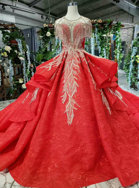 Red Lace Ball Gown Cap Sleeve Luxury Wedding Dress With Beading