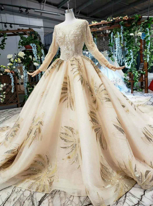 Champagne Tulle Long Sleeve Backless Luxury Wedding Dress With Removable Train