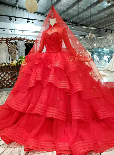 Red Ball Gown Tulle High Neck Long Sleeve Luxury Wedding Dress With Long Train