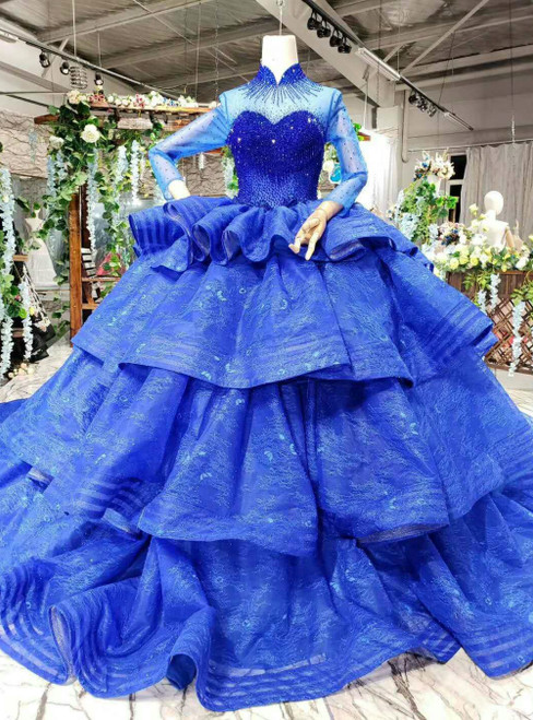 Royal Blue Ball Gown Tulle High Neck Long Sleeve Luxury Wedding Dress With Long Train