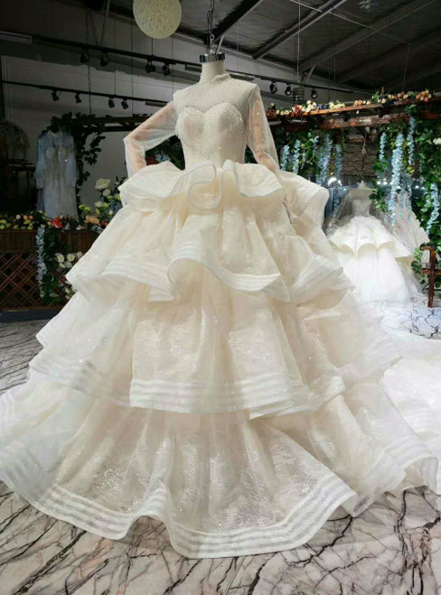 Light Champagne Ball Gown Tulle High Neck Long Sleeve Luxury Wedding Dress With Long Train