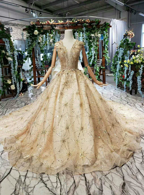 Champagne Gold Tulle Sequins See Through Deep V-neck Luxury Wedding Dress