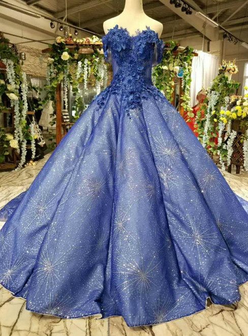 Blue Ball Gown Sequins Off the Shoulder Appliques Luxury Wedding Dress