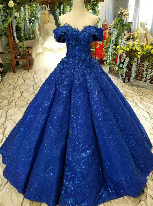 Royal Blue Sequins Off the Shoulder Appliques Floor Length Luxury Wedding Dress