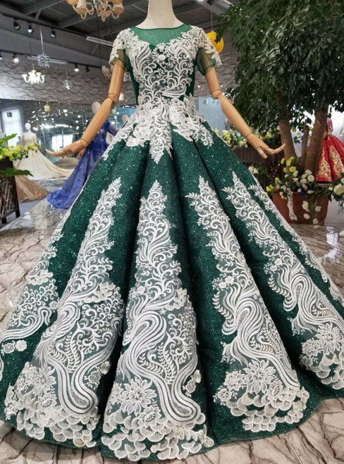 Green Ball Gown Sequins Cap Sleeve White Appliques Luxury Wedding Dress