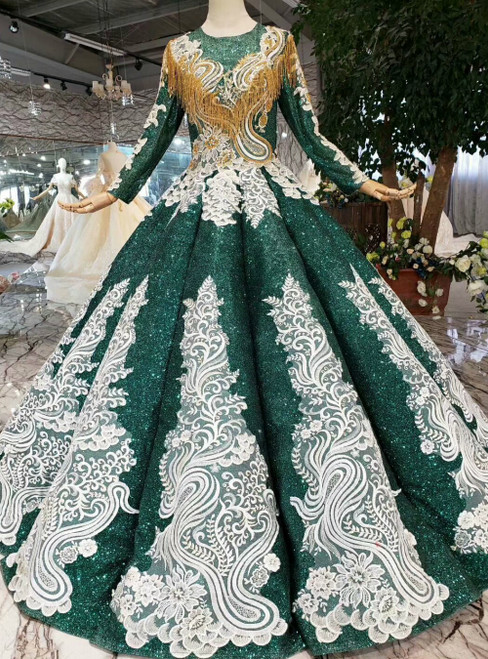 Green Ball Gown Sequins Long Sleeve White Appliques Luxury Wedding Dress With Beading