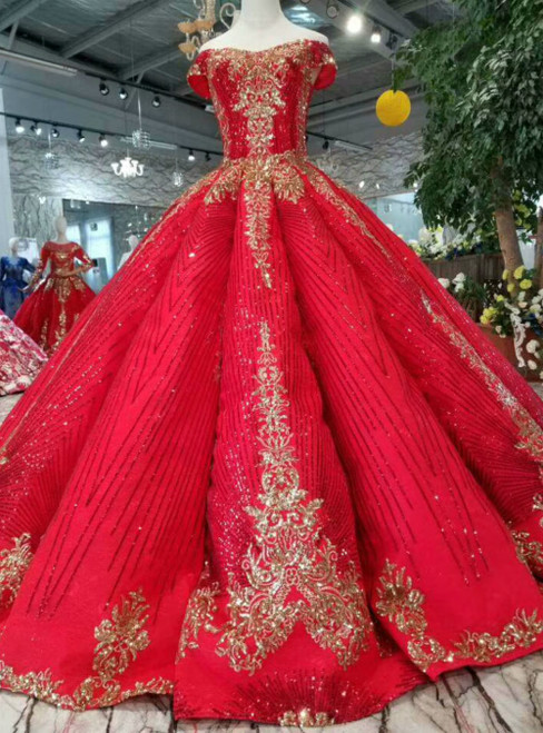 Red Ball Gown Sequins Off the Shoulder Luxury Wedding Dress With Train