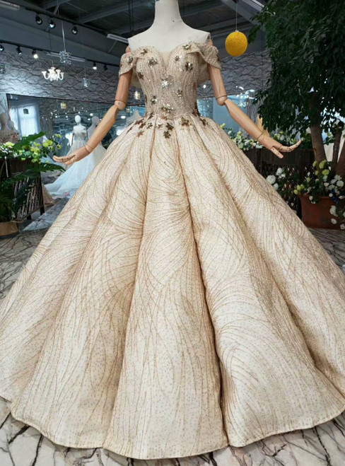 Champagne Ball Gown Off the Shoulder Luxury Wedding Dress With Sequins