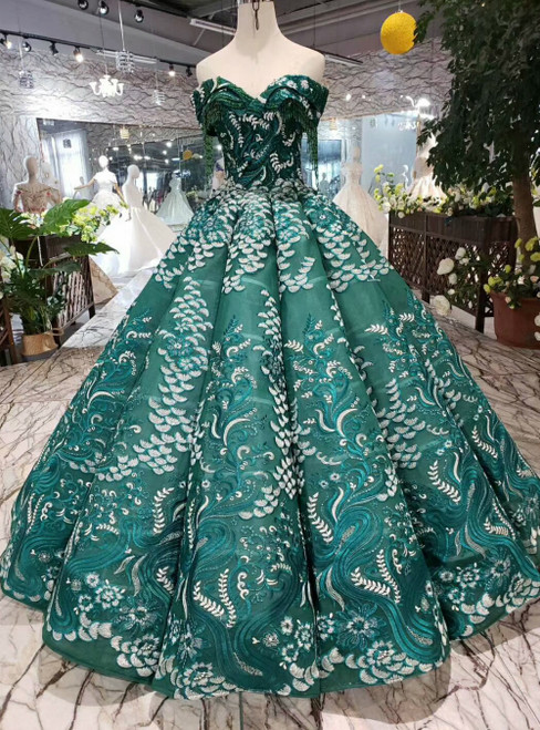 Green Ball Gown Off the Shoulder Appliques Luxury Wedding Dress With Beading