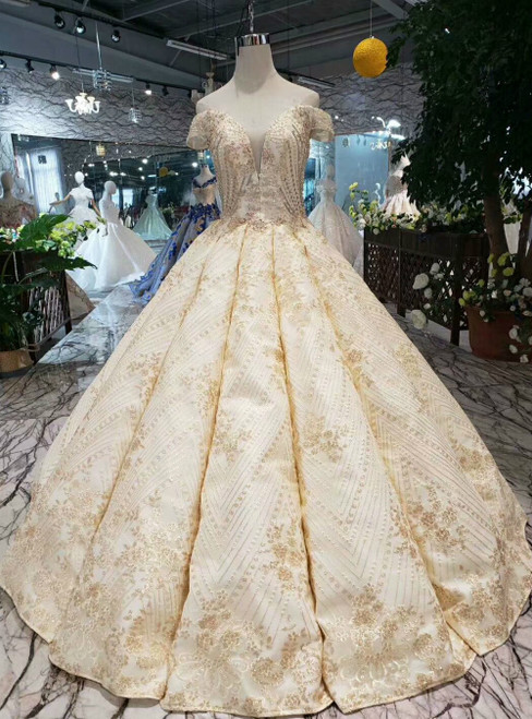 Champagne Ball Gown Lace Off the Shoulder Luxury Wedding With Beading