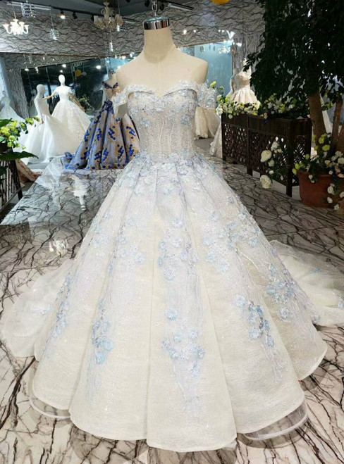 Light Champagne Sequins Off the Shoulder Blue Appliques Luxury Wedding Dress