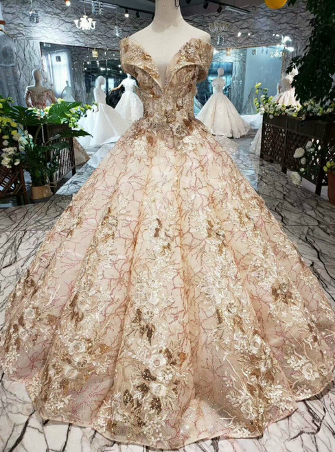Champagne Ball Gown Sequins Off the Shoulder Appliques Luxury Wedding Dress