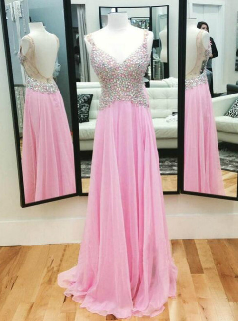 Pink Beading Chiffon Floor Length Prom Dress