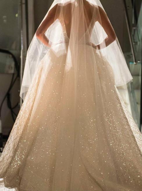 Deep V Neck Backless Sequin Beaded Bling Bling Wedding Dresses