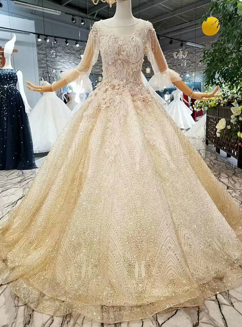 Champagne Tulle Sequins Long Sleeve Appliques Luxury Wedding Dress With Beading