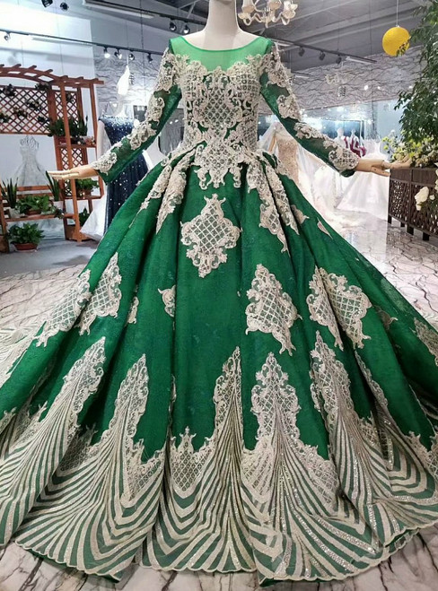 Green Ball Gown Tulle Champagne Lace Appliques Long Sleeve Luxury Wedding Dress With Beading