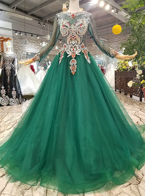 Green Tulle Sequins Long Sleeve Luxury Wedding Dress With Beading