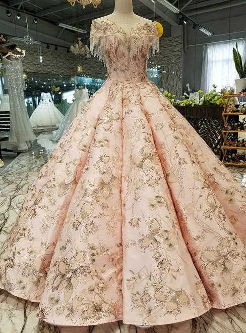 Pink Ball Gown Sequins Appliques Cap Sleeve Open Back Luxury Wedding Dress