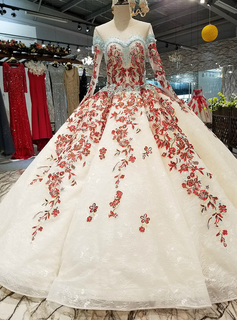 Champagne Ball Gown Lace Long Sleeve Red Appliques Luxury Wedding Dress With Beading