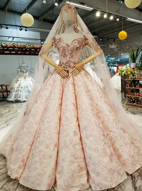 Pink Ball Gown Tulle Appliques Off the Shoulder Luxury Wedding Dress With Beading