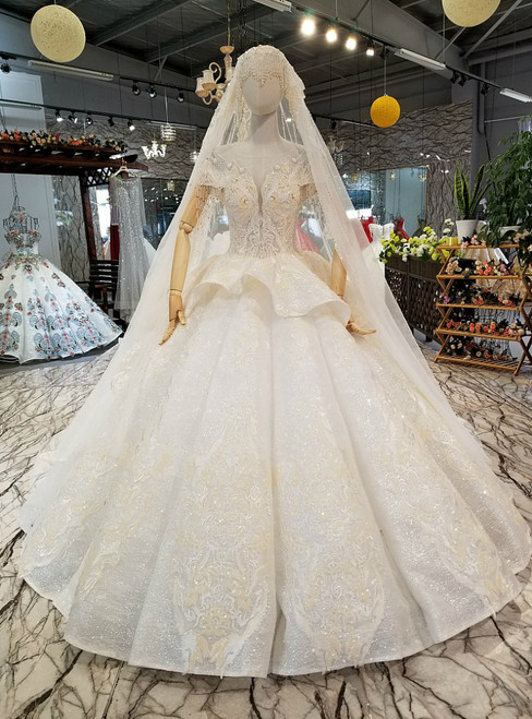 Light Champagne Ball Gown Sequins Appliques Backless Luxury Wedding Dress