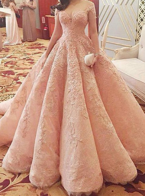 Pink Ball Gown Off The Shoulder Lace Appliqeus Wedding Gown