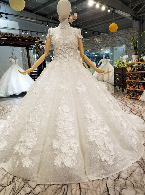 Ivory White Tulle Sequins High Neck Cap Sleeve Appliques Luxury Wedding Dress