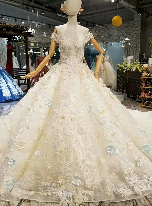 Champagne Ball Gown Tulle Lace 3D Flower Off the Shoulder Luxury Wedding Dress