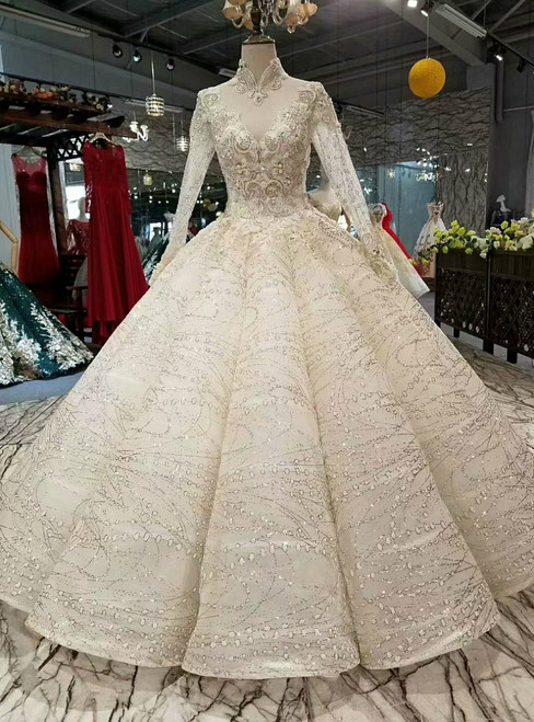 Champagne Ball Gown Sequins High Neck Long Sleeve Luxury Wedding Dress With Appliques