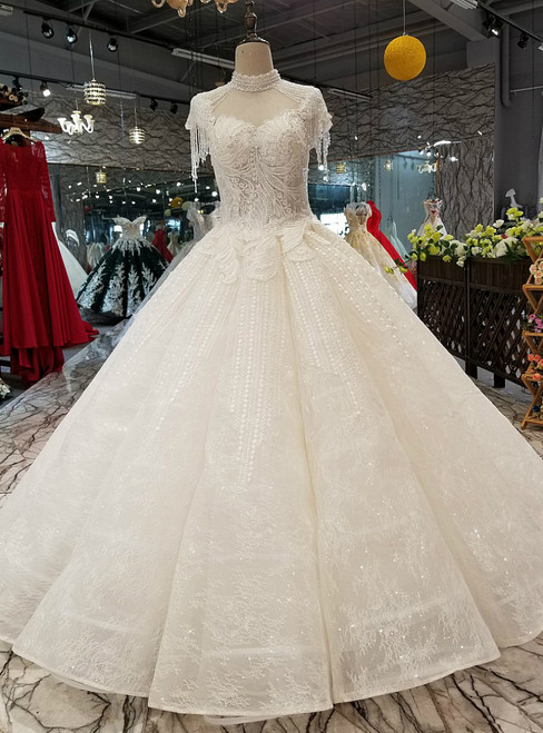 Light Champagne Ball Gown Lace High Neck Cap Sleeve Luxury Wedding Dress With Beading