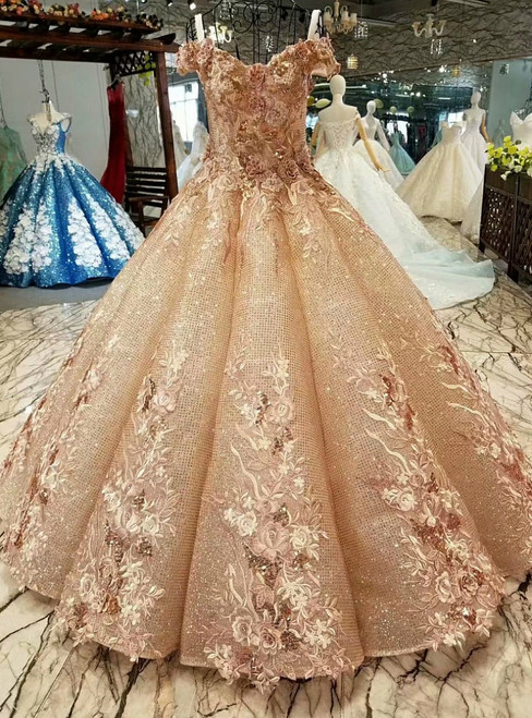 Dark Champagne Sequins Off the Shoulder Appliques Luxury Wedding Dress