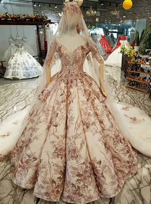 Champagne Pink Satin Appliques Off the Shoulder Luxury Wedding Dress
