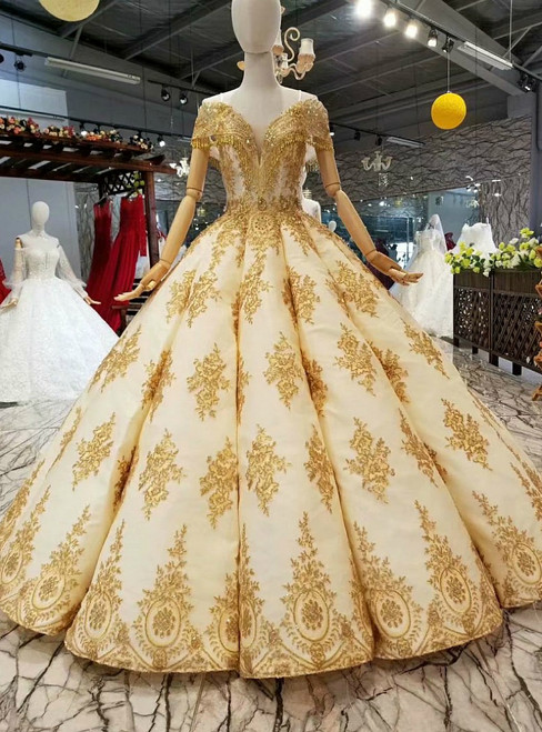 Champagne Ball Gown Lace Appliques Off the Shoulder Luxury Wedding Dress With beading