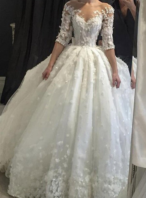 Vintage White Lace Half Sleeve Backless Appliques Wedding Dress