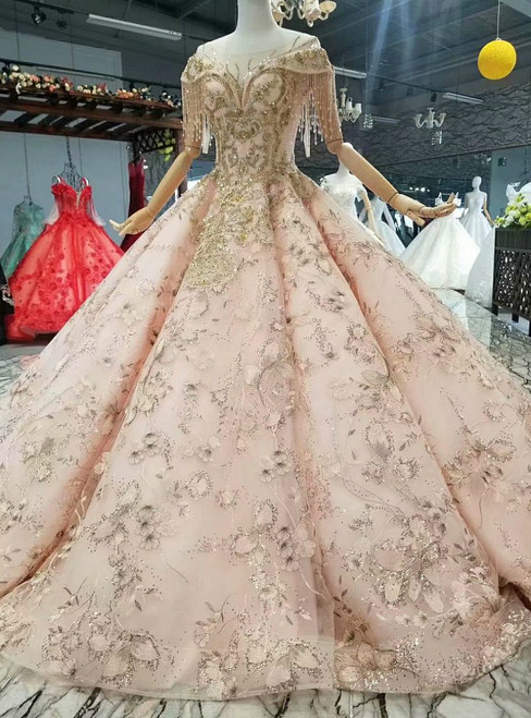 Pink Ball Gown Appliques Sequins Cap Sleeve Luxury Wedding Dress
