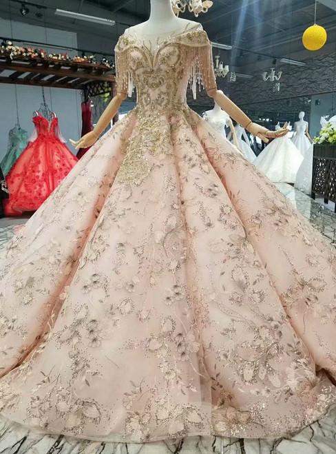 Pink Ball Gown Appliques Sequins Cap Sleeve Luxury Wedding Dress