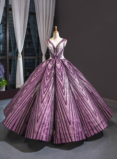 Purple Ball Gown Sequins Backless White Appliques Luxury Wedding Dress