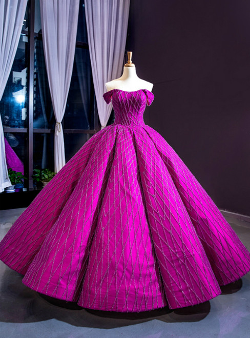 Purple Ball Gown Off the Shoulder Haute Couture Prom Dress