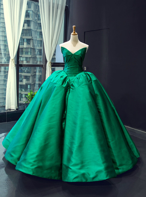 Dark Green Ball Gown Satin Sweetheart Floor Length Luxury Prom Dress