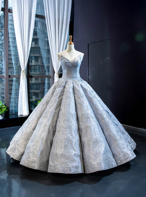Silver Gray Ball Gown Sequins Sweetheart Luxury Prom Dress