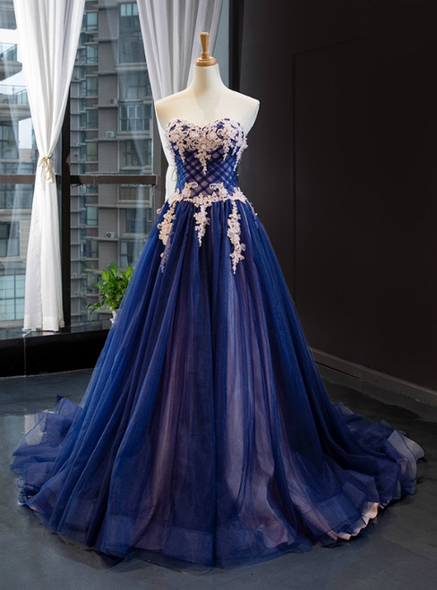 Blue Tulle Sweetheart White Appliques Prom Dress With Train