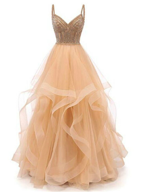 Champagne Tulle Spaghetti Straps Tulle Prom Dress With Beading