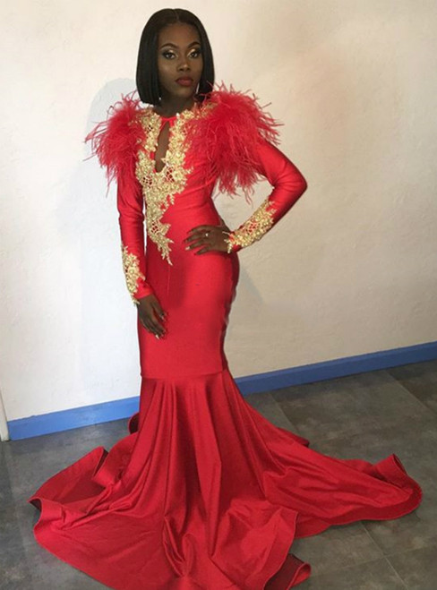 Red Mermaid Satin Long Sleeve Appliques Prom Dress