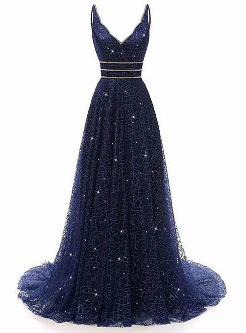 Blue Tulle Sequins Bling Bling V-neck Long Prom Party Dress