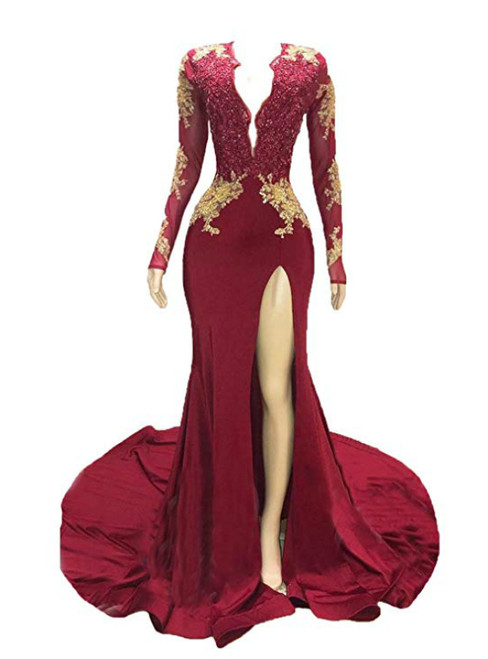 Burgundy Mermaid Deep V-neck Long Sleeve Backless Prom Dress