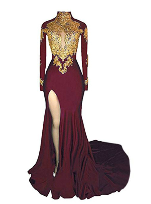 Burgundy mermaid High Neck Long Sleeve Appliques Prom Dress