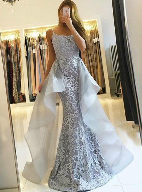 Sexy Gray Mermaid Lace Spaghetti Straps Long Prom Dress
