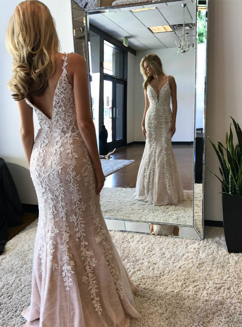 Gary Pink Lace Mermaid Straps Appliques Long Prom Dress