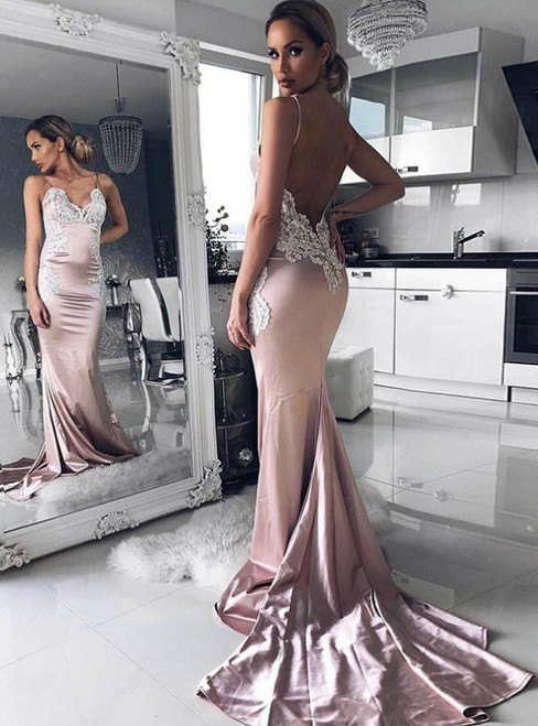 Pink Mermaid Spaghetti Straps Backless Long Prom Dress with Appliques