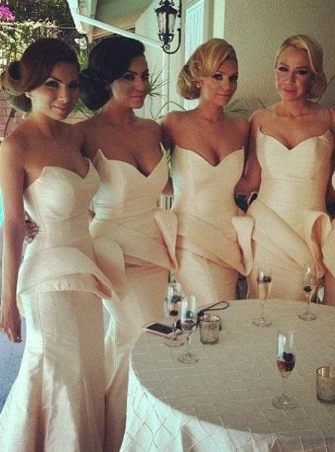 Simple Satin Mermaid Sweetheart Neck Long Bridesmaid Dress